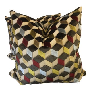 "Cube Cut Velvet 22"" Pillows-A Pair For Sale"