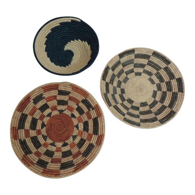 Vintage Tribal Colorful Round Baskets/Bowls - Set of 3 - Image 1 of 7