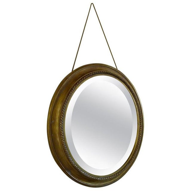 Distressed Gilt Oval Antiqued Mirror Hung by Rope For Sale - Image 11 of 11