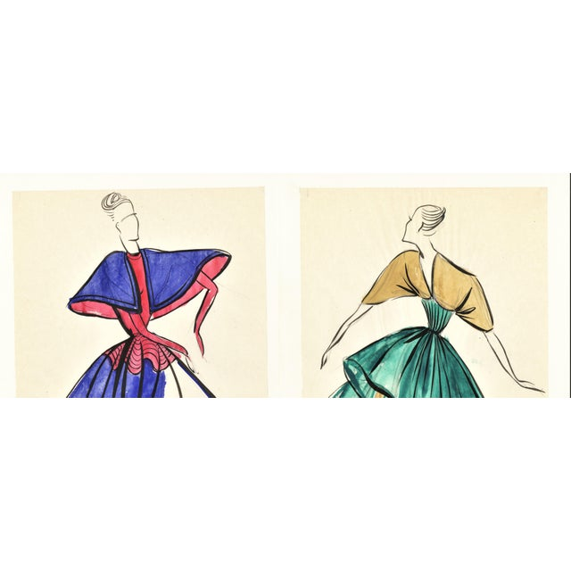 Pair-Original French Fashion Design Drawings For Sale - Image 4 of 6