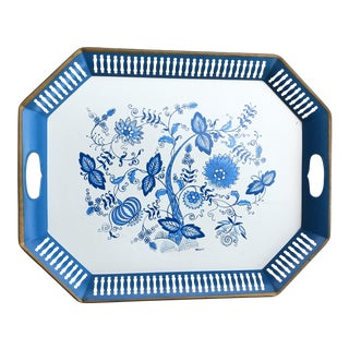 1970s Folk Art Blue and White Toleware Serving Tray For Sale