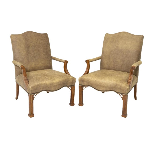 Vintage Chinese Chippendale Style Gray Tan Brushed Leather Arm Chairs- a Pair For Sale