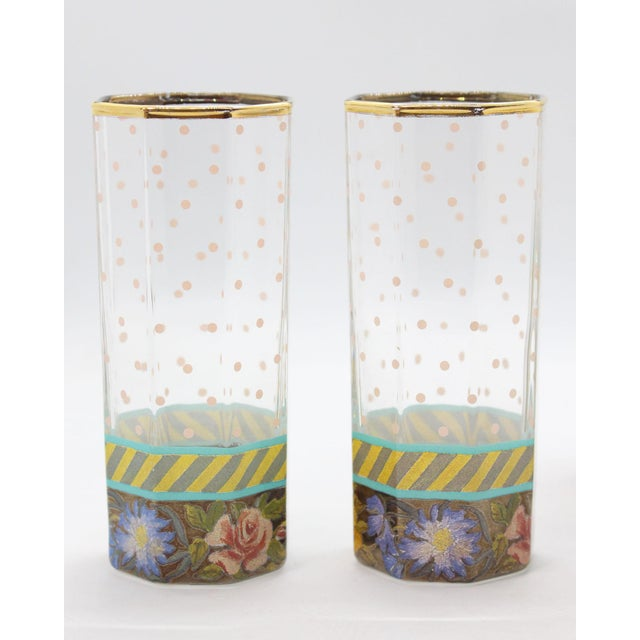 Shabby Chic Vintage MacKenzie Childs New York Floral Pitcher & Glassware - Set of 3 For Sale - Image 3 of 5