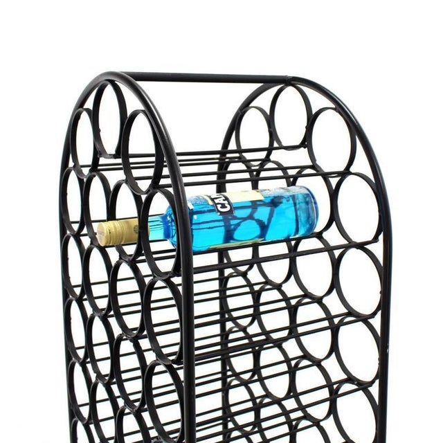 Mid-Century Modern Large Tall Wrought Iron Wine Rack For Sale - Image 3 of 7