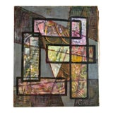 Image of 1960s Abstract Geometric Oil Painting For Sale
