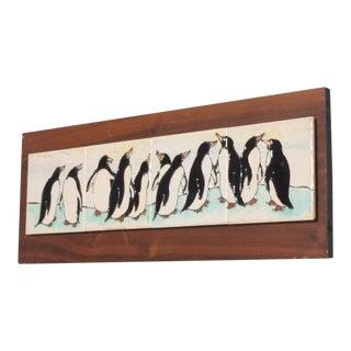 Harris G Strong Penguin Tile Wall Art Plaque Midcentury Modern For Sale
