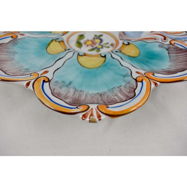 St. Clément French Faïence Turquoise Floral Oyster Plate For Sale In Philadelphia - Image 6 of 12