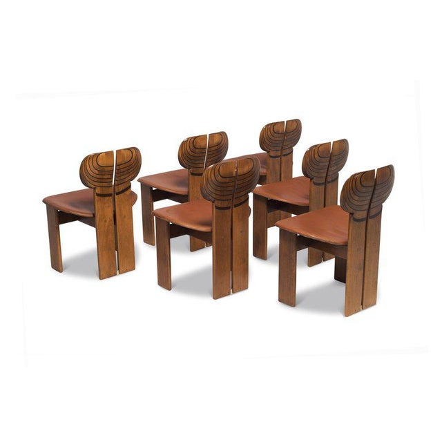 B&B Italia Africa Chairs by Afra and Tobia Scarpa With Cognac Leather Seating For Sale - Image 4 of 12