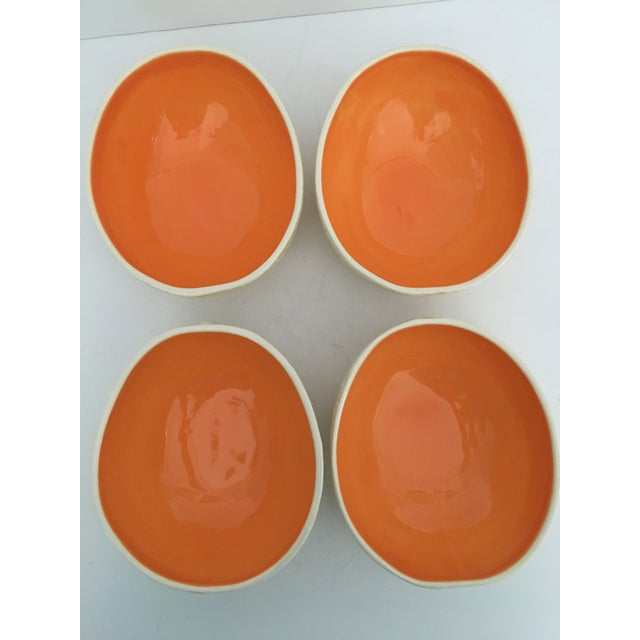 Hand Painted Majolica Cantaloupe Pottery Bowls - Set of 4 For Sale - Image 6 of 11