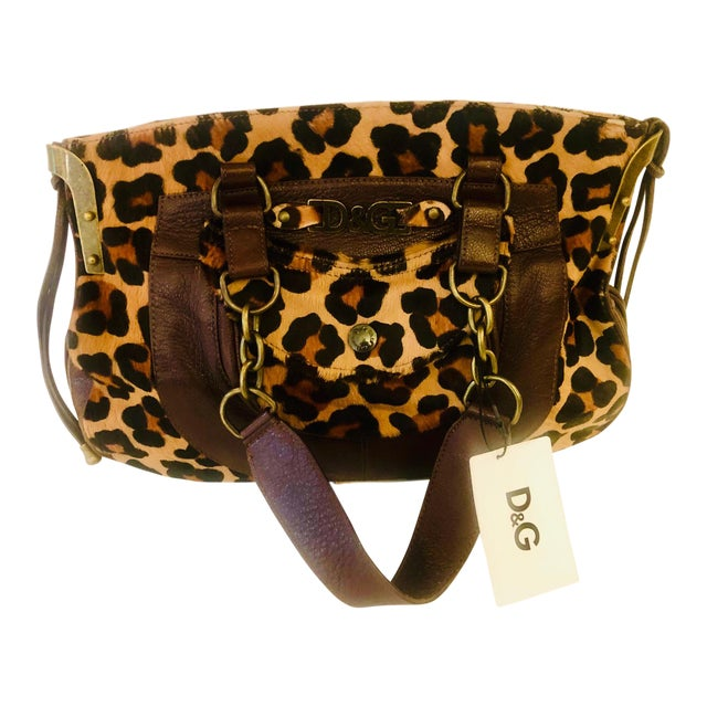Dolce & Gabbana D & G Leopard Fur Satchel Purse For Sale