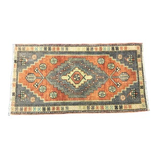 Traditional Turkish Handmade Orange and Gray Rug For Sale