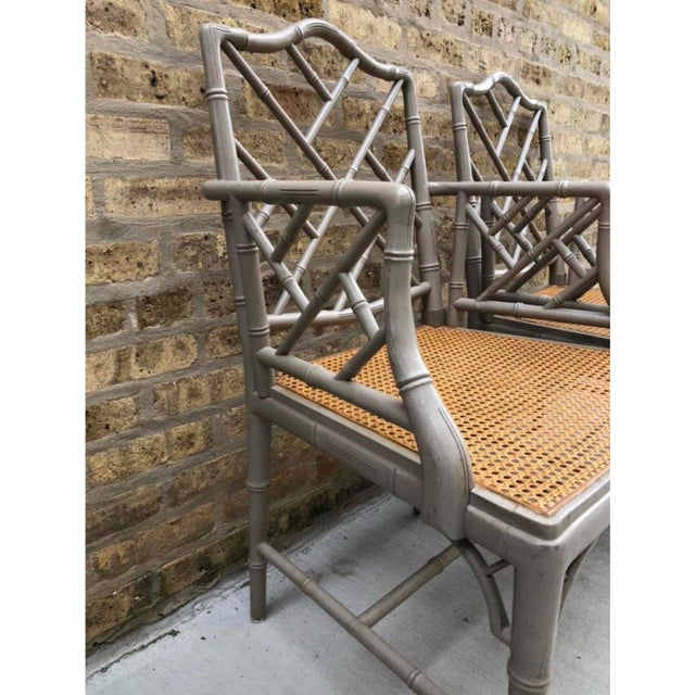 Shabby Chic Vintage Bamboo Chinoiserie Hollywood Regency Style Armchairs - a Pair For Sale - Image 3 of 6