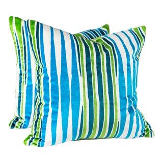 """20"""" Mod Velvet Romo Pillows, Pair For Sale"""