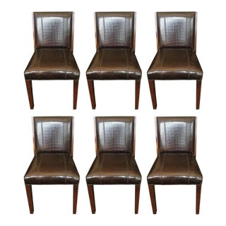 Ralph Lauren Crocodile Embossed Leather Dining Chairs - Set of 6