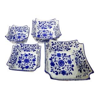 Porcelain Floral Nesting Blue & White Bowls - Set of 4 For Sale