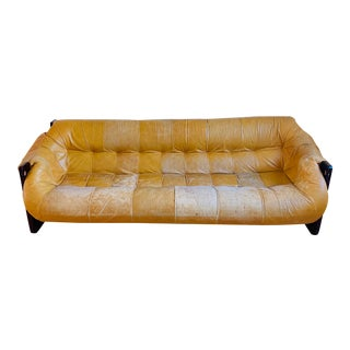 Vintage Percival Lafer Yellow Leather Sofa For Sale