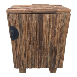 Modern Natural Reclaimed Wood Cabinet For Sale