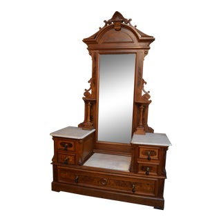 Antique Victorian Eastlake Marble Top Vanity For Sale