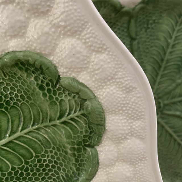 Green Italian 1980s Majolica Cabbage Plates- a Pair For Sale - Image 8 of 9
