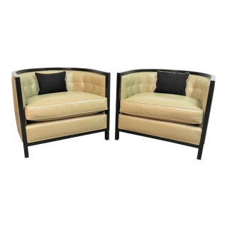 Baker Black Lacquer Leather Club Chairs - a Pair For Sale