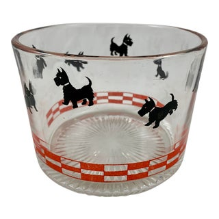 1930-40s Red & Black Scotty Terrier Dog Glass Ice Bucket For Sale