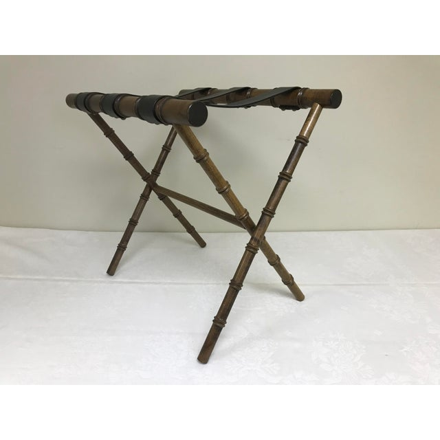 1960s Regency Faux Bamboo Leather Strap Folding Luggage Rack Stand For Sale - Image 10 of 10