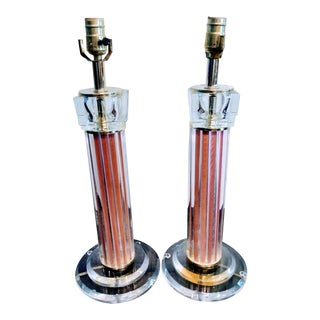 Lucite Glass Pale Pink Fluted Vintage Table Lamps - A Pair