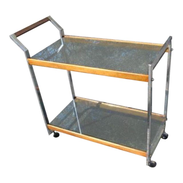 Vintage Mid-Century Modern Rolling Serving Bar Chrome Teak Glass Cart For Sale