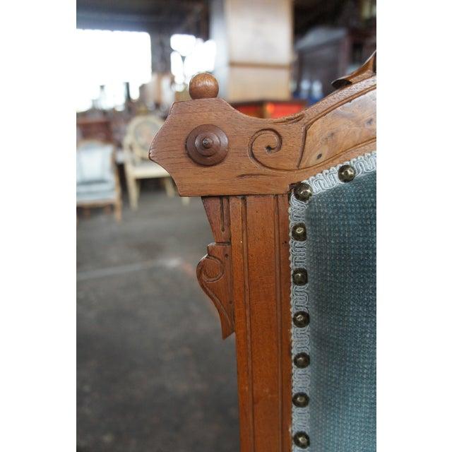 Blue Antique Victorian Renaissance Revival Walnut Burl Parlor Accent Chair For Sale - Image 8 of 13