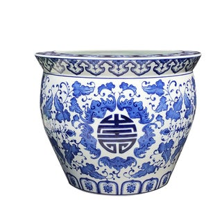Chinese Long Life Longevity Blue and White Ceramic Fish Bowl Planter For Sale