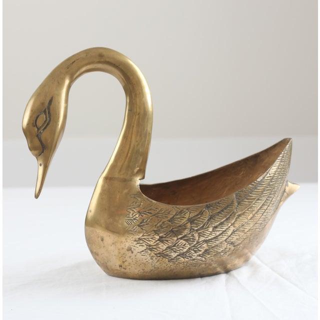 Large Brass Swan Planter - Image 8 of 8