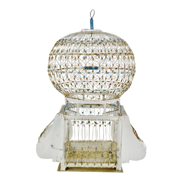 Antique French Victorian Dome Top Wire Bird Cage For Sale