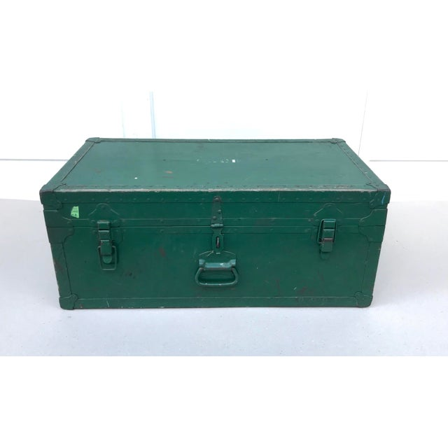 Vintage Metal Green Trunk - Image 6 of 6