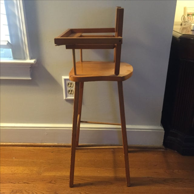 Yellow Wood Doll High Chair with Cat Motif For Sale - Image 8 of 11