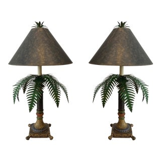 Toleware Palm Tree Table Lamps - a Pair For Sale