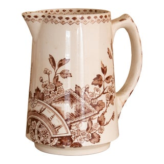 Vintage Aesthetic Movement Brown and White Pitcher For Sale