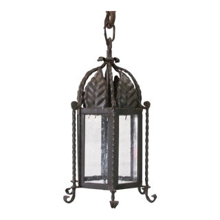Small Forged Iron Exterior Lantern For Sale