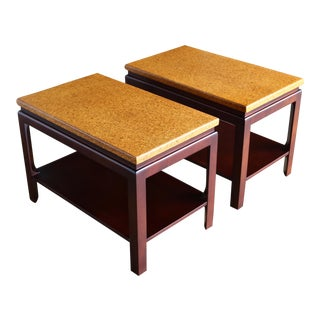 Mid 20th Century Paul Frankl for Johnson Furniture Cork Top End Tables - a Pair For Sale