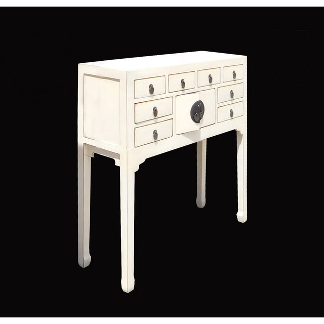Off-White Distressed Console Table - Image 3 of 7