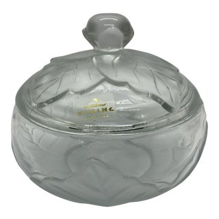 Viking Glass Epic Leaf Frosted Covered Candy Dish