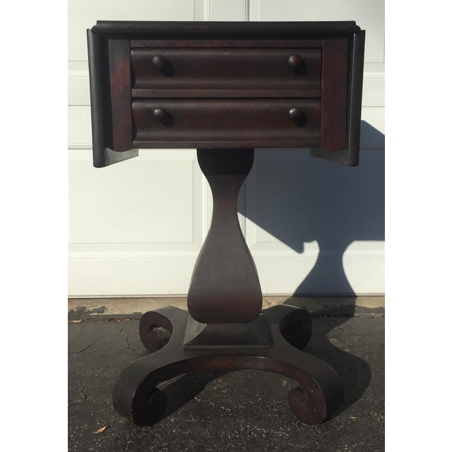 Antique Empire Mahogany Drop Leaf Side Table For Sale - Image 9 of 9