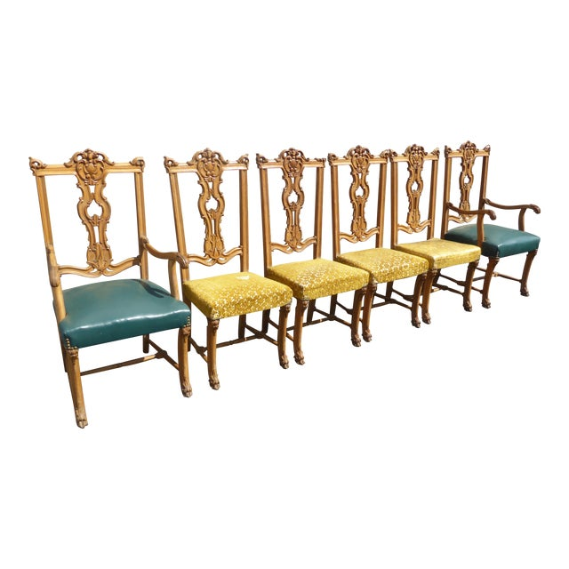 a09b05723cbe2 Vintage Carved Chippendale Dining Chairs - Set of Six For Sale