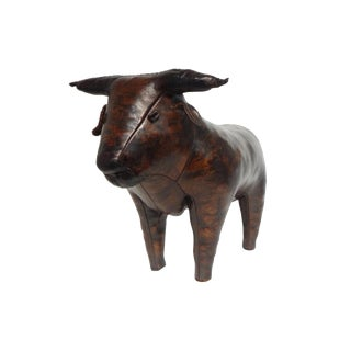 Omersa Leather Bull Footstool by Abercrombie & Fitch For Sale