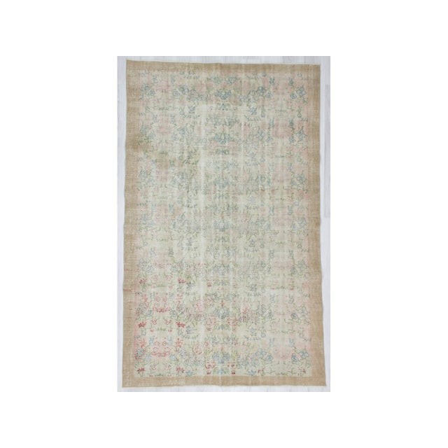 Distressed Vintage Floral Turkish Rug For Sale In Los Angeles - Image 6 of 6