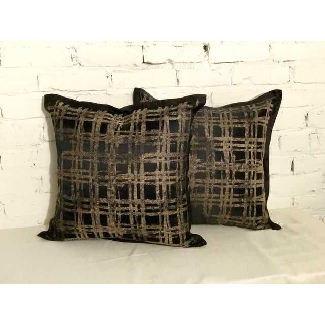"""Pair of 20"""" Black and Gilt Silk Pillows by Jim Thompson For Sale - Image 11 of 11"""