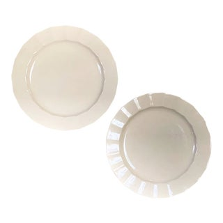 Vintage Country White China Plates - Set of 2 For Sale