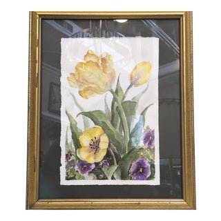 Floral Watercolor in Gold Frame