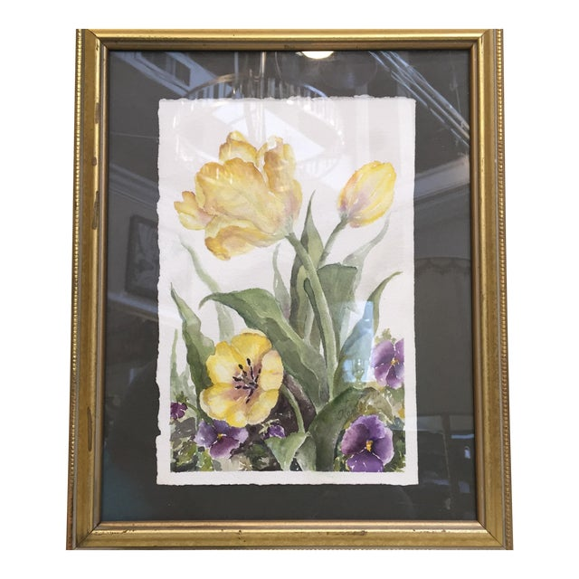 Floral Watercolor in Gold Frame For Sale