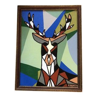 "Original Contemporary Artist Bd Floyd Painting ""Big Buck"" For Sale"