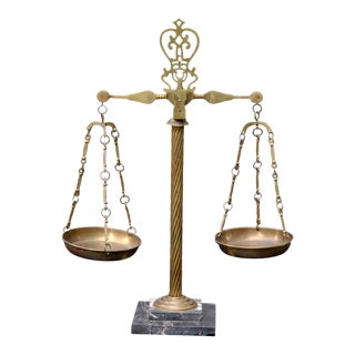 Vintage Italian Marble and Brass Apothecary Scales For Sale